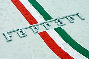 Ferrari Logo - writing - white - rain